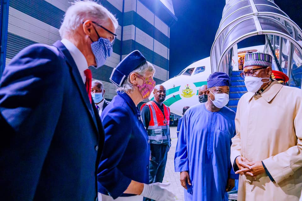 President Buhari arrives London for Education summit and medical checkup photos