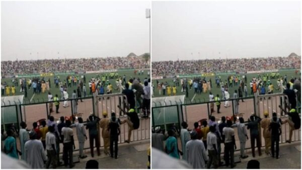 Rivers United fans beat up Akwa United supporter hold referee hostage
