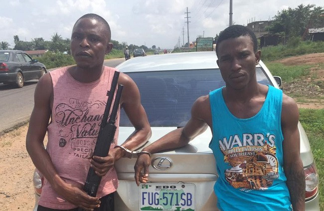 Two suspected cultists arrested with gun and Indian hemp in Edo