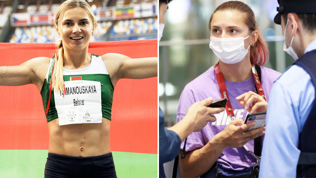 Belarus sprinter refuses forced flight home after she criticized sports officials photos