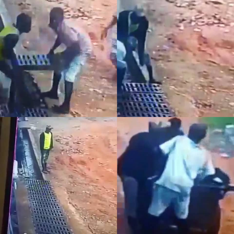 CCTV captures the moment young men carted away iron bars used to make a road accessible