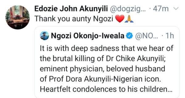 Dr. Akunyilis son reacts as Okonjo Iweala comments2
