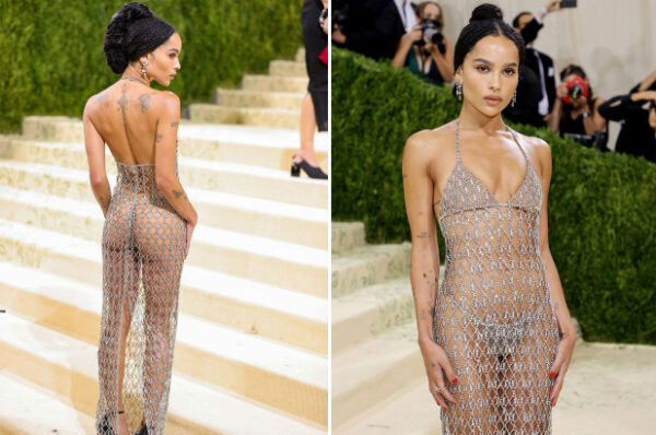 Zoe Kravitz goes nearly naked as she attends 2021 Met Gala in just glittering Saint Laurent chains photos