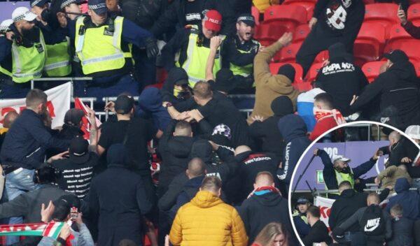 Hungary fans police clash inside Wembley stadium