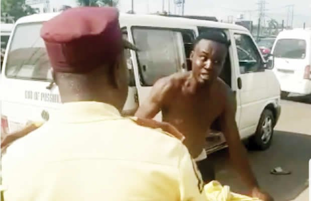 LASTMA launches manhunt for driver who stripped himself naked and dragged official