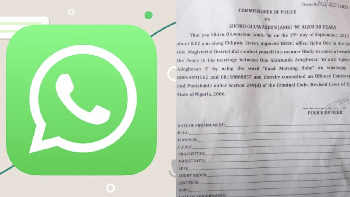 Police file criminal charges against man for calling married woman 'babe on WhatsApp
