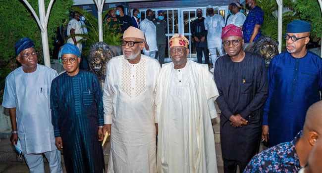 South West Governors meet in Lagos visit Tinubu